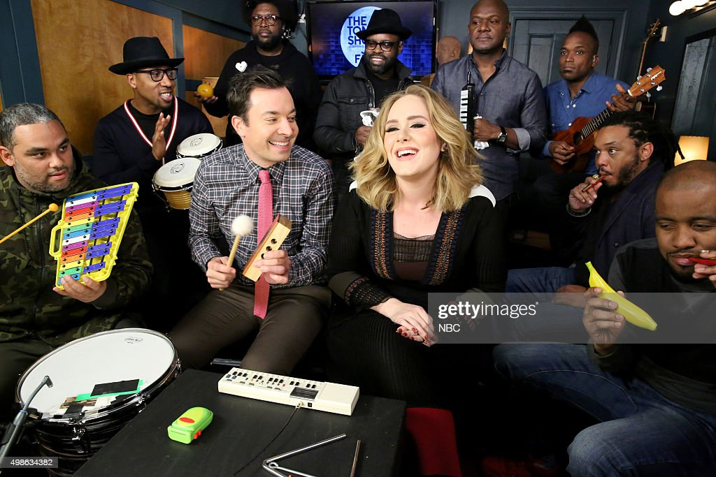 Host <a gi-track='captionPersonalityLinkClicked' href=/galleries/search?phrase=Jimmy+Fallon&family=editorial&specificpeople=171520 ng-click='$event.stopPropagation()'>Jimmy Fallon</a> and The Roots sing with <a gi-track='captionPersonalityLinkClicked' href=/galleries/search?phrase=Adele+-+Cantante&family=editorial&specificpeople=4898935 ng-click='$event.stopPropagation()'>Adele</a> during the Music Room bit on November 24, 2015 --
