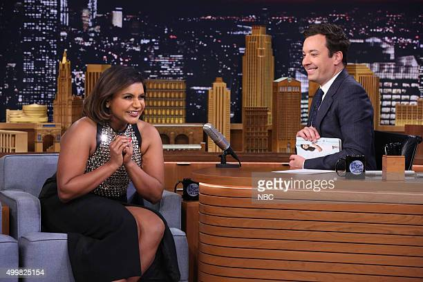 Actress Mindy Kaling during an interview with host Jimmy Fallon on December 3 2015