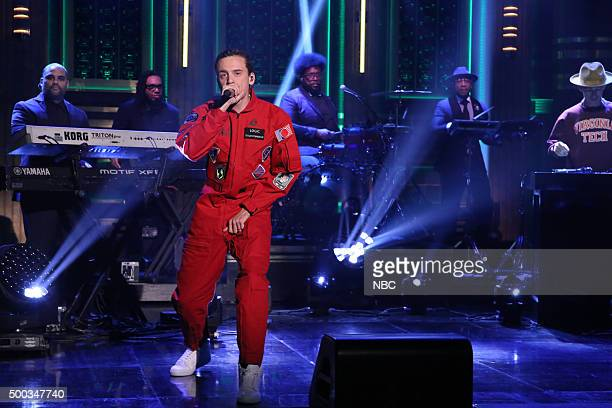 Musical guest Logic performs with The Roots on December 7 2015