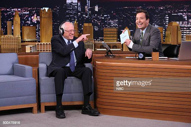 Senator Bernie Sanders and host Jimmy Fallon play The Whisper Challenge on December 8 2015