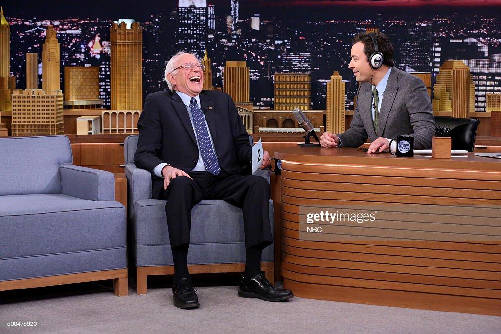 Senator Bernie Sanders and host Jimmy Fallon play The Whisper Challenge on December 8, 2015 --