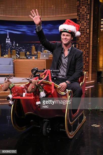 Actor Chris Hemsworth during Cooler Scooter Sleigh Race on December 10 2015