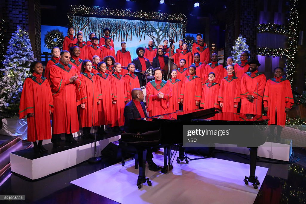 Host <a gi-track='captionPersonalityLinkClicked' href=/galleries/search?phrase=Jimmy+Fallon&family=editorial&specificpeople=171520 ng-click='$event.stopPropagation()'>Jimmy Fallon</a> and The Roots perform with the Young People's Chorus of New York City on December 18, 2015 --