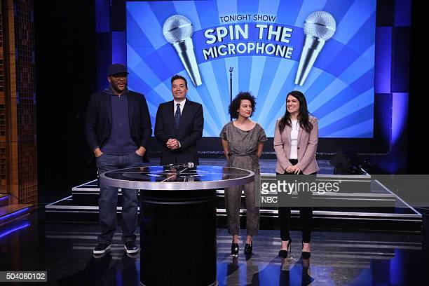 Actor Tyler Perry host Jimmy Fallon comedian Ilana Glazer and comedian Abbi Jacobson play Spin The Microphone on January 8 2016