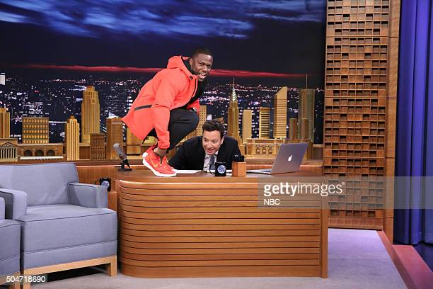 Actor Kevin Hart during an interview with host Jimmy Fallon on January 12 2016