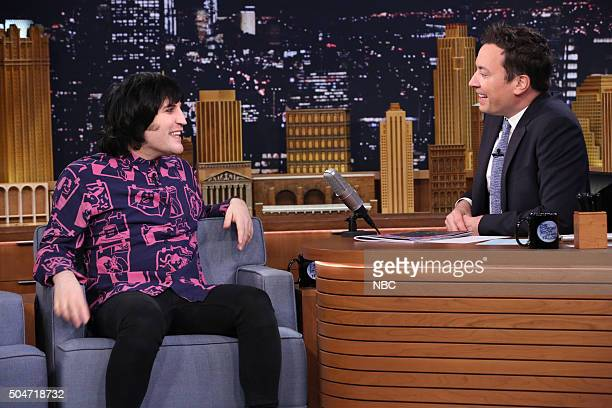 Comedian Noel Fielding during an interview with host Jimmy Fallon on January 12 2016