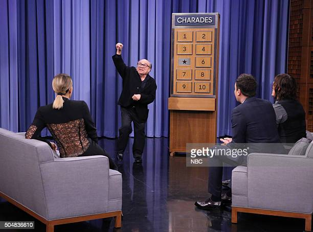 Television personality Khloé Kardashian actor Danny DeVito host Jimmy Fallon and actor Norman Reedus play Charades on January 13 2016