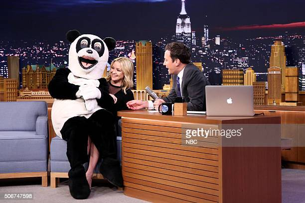 Hashtag the Panda interrupts actress Kate Hudson during an interview with host Jimmy Fallon on January 25 2016