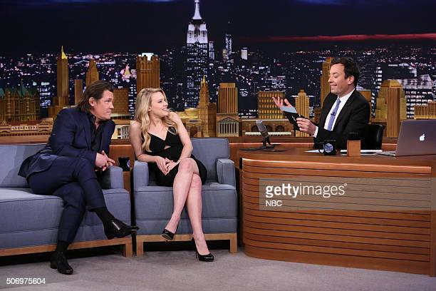 Actor Josh Brolin and actress Kate McKinnon play 'First Impressions' with host Jimmy Fallon on January 26 2016