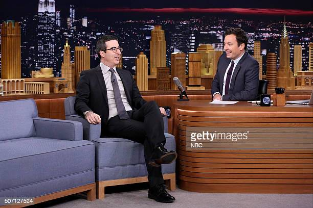 Television show host John Oliver during an interview with host Jimmy Fallon on January 27 2016
