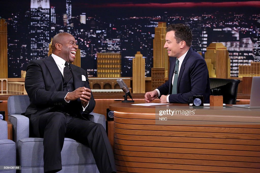 Basketball player <a gi-track='captionPersonalityLinkClicked' href=/galleries/search?phrase=Magic+Johnson&family=editorial&specificpeople=157511 ng-click='$event.stopPropagation()'>Magic Johnson</a> during an interview with host <a gi-track='captionPersonalityLinkClicked' href=/galleries/search?phrase=Jimmy+Fallon&family=editorial&specificpeople=171520 ng-click='$event.stopPropagation()'>Jimmy Fallon</a> on February 10, 2016 --