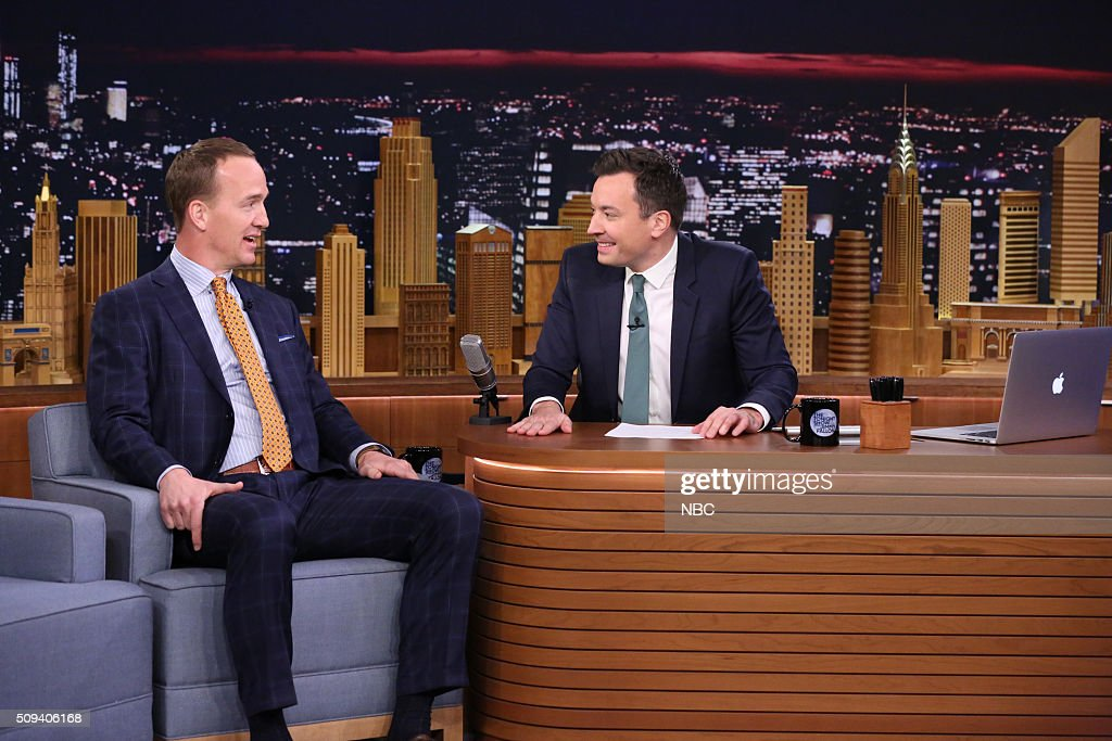 Football quarterback <a gi-track='captionPersonalityLinkClicked' href=/galleries/search?phrase=Peyton+Manning&family=editorial&specificpeople=184524 ng-click='$event.stopPropagation()'>Peyton Manning</a> during an interview with host <a gi-track='captionPersonalityLinkClicked' href=/galleries/search?phrase=Jimmy+Fallon&family=editorial&specificpeople=171520 ng-click='$event.stopPropagation()'>Jimmy Fallon</a> on February 10, 2016 --