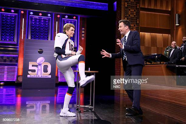 Actress Kristen Wiig dressed as Denver Bronco's quarterback Peyton Manning during an interview with host Jimmy Fallon on February 11 2016