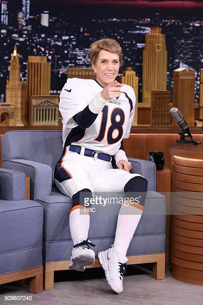 Actress Kristen Wiig dressed as Denver Bronco's quarterback Peyton Manning on February 11 2016