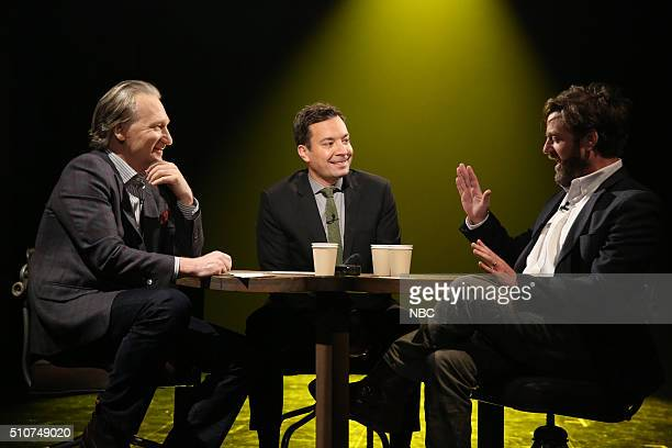 Comedian Bill Maher host Jimmy Fallon and actor Zach Galifianakis play True Confessions on February 16 2016