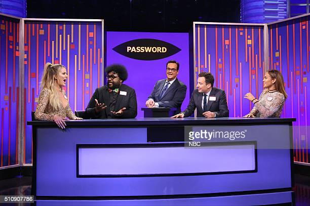Television personality Khloé Kardashian musician Ahmir 'Questlove' Thompson announcer Steve Higgins host Jimmy Fallon and actress Jennifer Lopez play...
