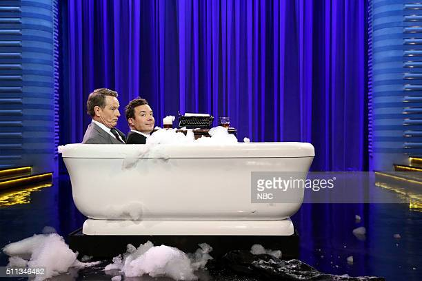 Actor Bryan Cranston during a bathtub interview with host Jimmy Fallon on February 19 2016