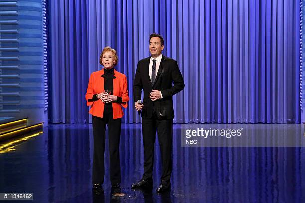 Actress Carol Burnett and host Jimmy Fallon during the monologue on February 19 2016