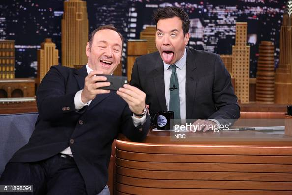 Actor Kevin Spacey during an interview with host Jimmy Fallon on February 23 2016