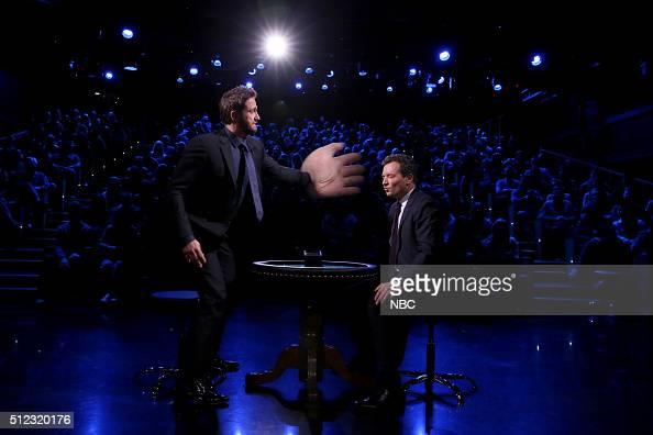 Actor Gerard Butler and host Jimmy Fallon play 'Slapjack' on February 25 2016