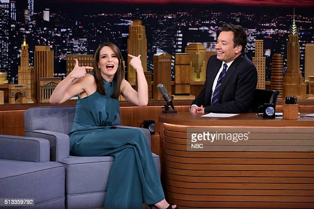 Actress Tina Fey during an interview with host Jimmy Fallon on March 2 2016