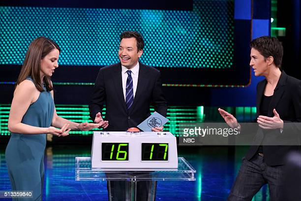 Actress Tina Fey host Jimmy Fallon and television personality Rachel Maddow play 'Know It All' on March 2 2016