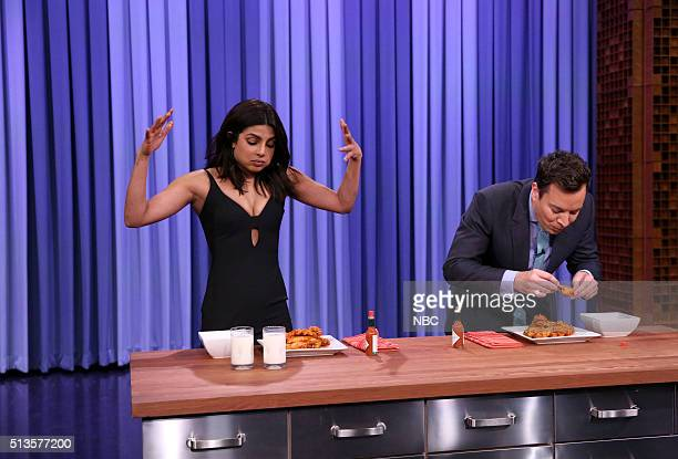 Actress Priyanka Chopra and host Jimmy Fallon have a hot wing eating contest on March 3 2016