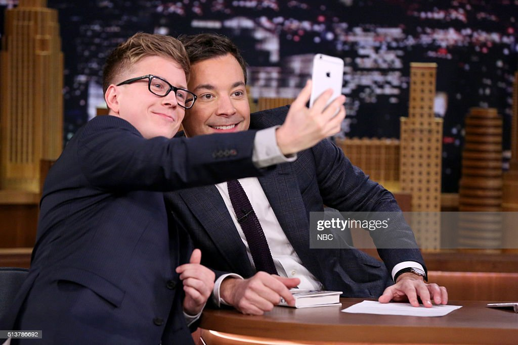 YouTube sensation Tyler Oakley during an interview with host Jimmy Fallon on March 4 2016