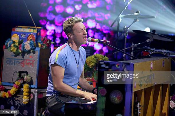 Chris Martin of musical guest Coldplay performs on March 15 2016