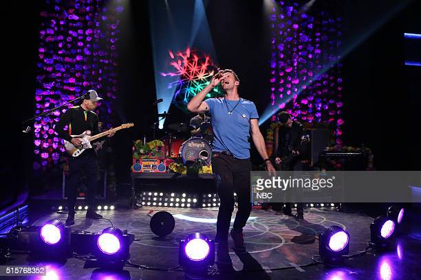 Jonny Buckland Will Champion Chris Martin and Guy Berryman of musical guest Coldplay perform on March 15 2016