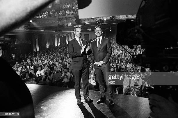 MEYERS Episode 0433 Pictured Journalist Jake Tapper and host Seth Meyers say goodnight on October 10 2016