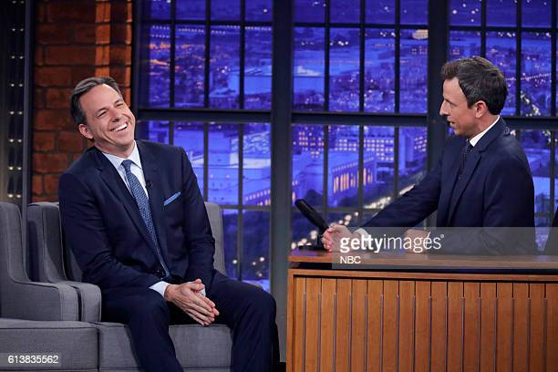 Journalist Jake Tapper during an interview with host Seth Meyers on October 10 2016