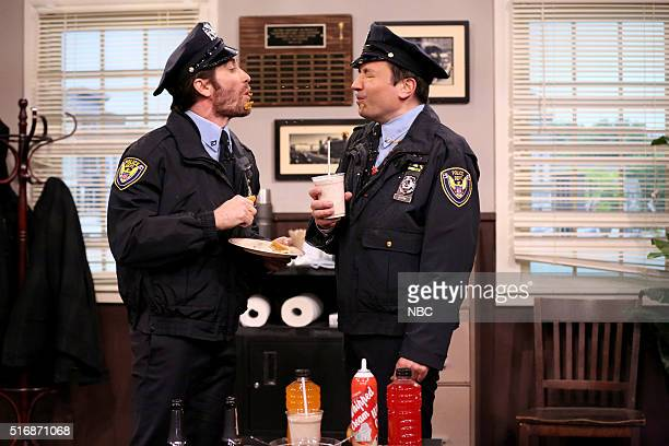 Actor Jake Gyllenhaal and host Jimmy Fallon during the 'Point Pleasant Police Department' sketch on March 21 2016