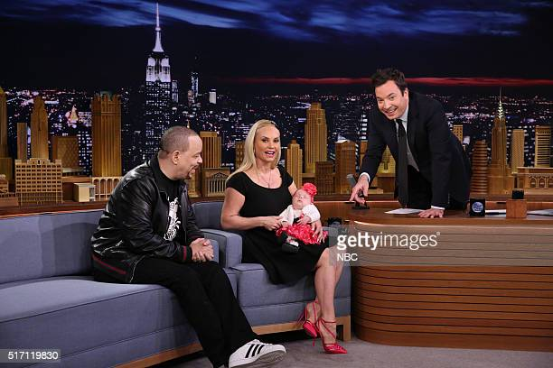 IceT and Coco Austin show off their daughter Chanel Nicole Marrow during an interview with host Jimmy Fallon on March 23 2016