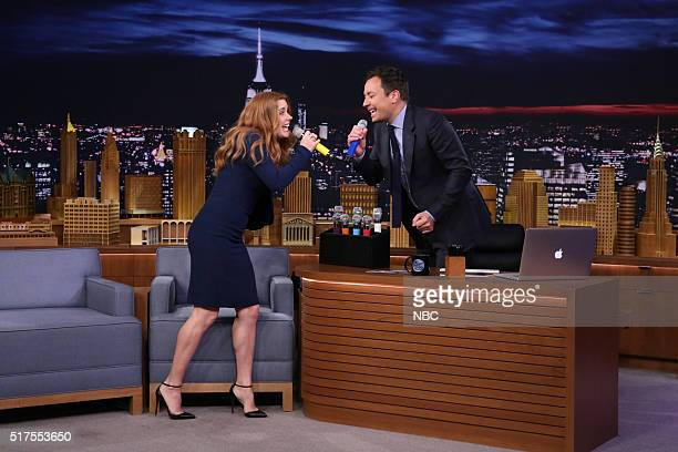 Actress Amy Adams and host Jimmy Fallon play Box of Microphones on March 25 2016