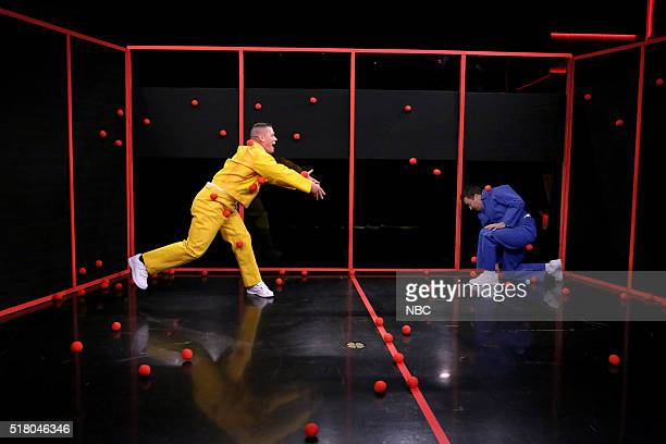 Wrestler John Cena and host Jimmy Fallon play 'Sticky Balls' on March 29 2016
