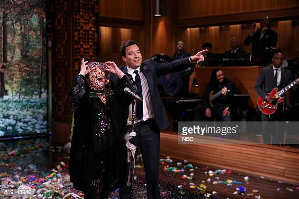 Actress Melissa McCarthy and host Jimmy Fallon during a Lip Synch Battle on April 4 2016