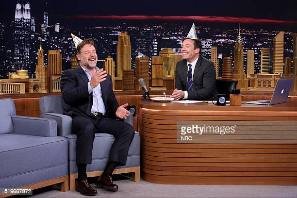 Actor Russell Crowe during an interview with host Jimmy Fallon on April 7 2016