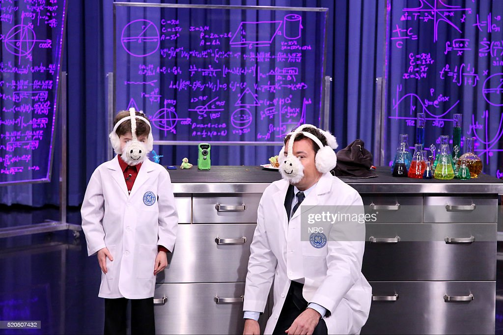 Kid inventor Gary Lechinsky with host Jimmy Fallon during Fallonventions on April 11, 2016 --