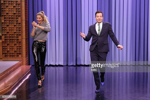 Fashion Model Gisele B������������������ndchen teaches host Jimmy Fallon how to walk the runway on April 27 2016