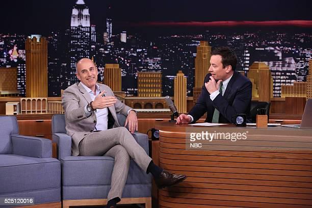 Journalist Matt Lauer during an interview with host Jimmy Fallon on April 27 2016