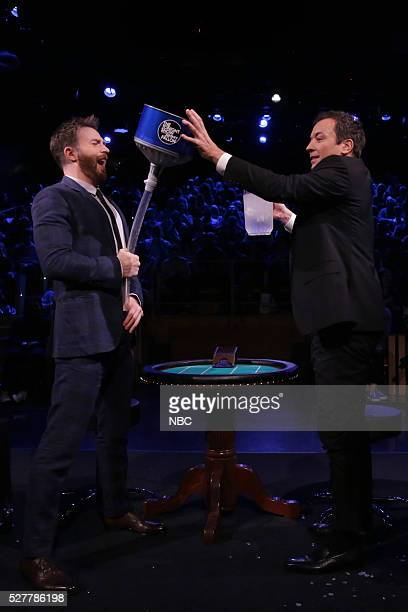 Actor Chris Evans and host Jimmy Fallon play 'Frozen Blackjack' on May 3 2016