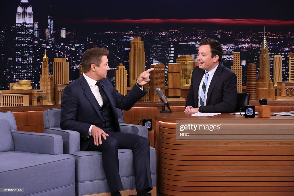Actor <a gi-track='captionPersonalityLinkClicked' href=/galleries/search?phrase=Jeremy+Renner&family=editorial&specificpeople=708701 ng-click='$event.stopPropagation()'>Jeremy Renner</a> during an interview with host <a gi-track='captionPersonalityLinkClicked' href=/galleries/search?phrase=Jimmy+Fallon&family=editorial&specificpeople=171520 ng-click='$event.stopPropagation()'>Jimmy Fallon</a> on May 4, 2016 --