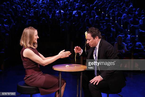 Actress Jodie Foster and host Jimmy Fallon play Egg Russian Roulette on May 9 2016