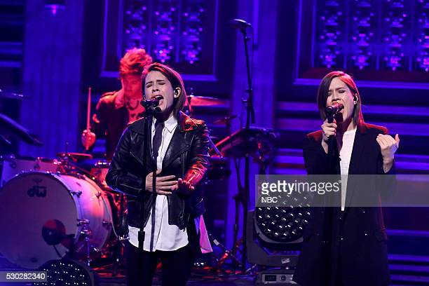 Tegan Quin and Sara Quin of musical guest Tegan And Sara perform on May 10 2016