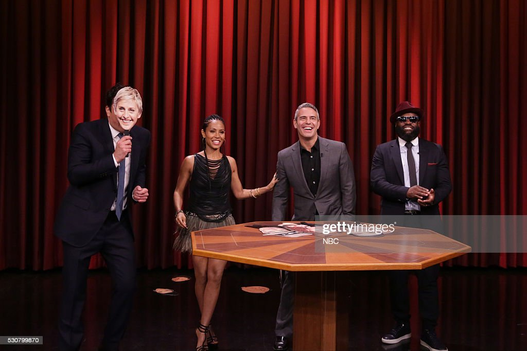 Host <a gi-track='captionPersonalityLinkClicked' href=/galleries/search?phrase=Jimmy+Fallon&family=editorial&specificpeople=171520 ng-click='$event.stopPropagation()'>Jimmy Fallon</a>, Actress <a gi-track='captionPersonalityLinkClicked' href=/galleries/search?phrase=Jada+Pinkett+Smith&family=editorial&specificpeople=201837 ng-click='$event.stopPropagation()'>Jada Pinkett Smith</a>, TV host <a gi-track='captionPersonalityLinkClicked' href=/galleries/search?phrase=Andy+Cohen+-+Television+Personality&family=editorial&specificpeople=7879180 ng-click='$event.stopPropagation()'>Andy Cohen</a>, and Tariq '<a gi-track='captionPersonalityLinkClicked' href=/galleries/search?phrase=Black+Thought&family=editorial&specificpeople=228555 ng-click='$event.stopPropagation()'>Black Thought</a>' Trotter play Famous Face-Off on May 11, 2016 --