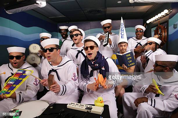Host Jimmy Fallon and Andy Samberg Jorma Taccone and Akiva Schaffer of 'The Lonely Island' play Classroom Instruments with The Roots on May 16 2016