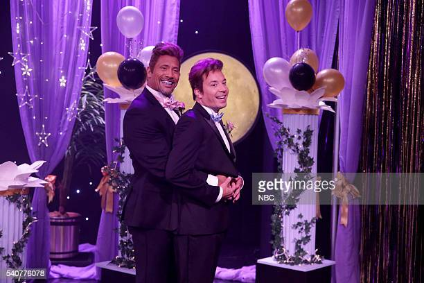 Dwayne Johnson and Jimmy Fallon during the 'Prom Guys' sketch on June 16 2016
