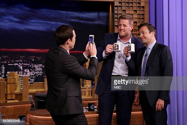 Actor Jim Parsons and professional football player JJ Watt during an interview with host Jimmy Fallon on June 24 2016