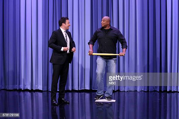 Host Jimmy Fallon and professional baseball player Bernie Williams during a Suggestion Box bit on July 20 2016